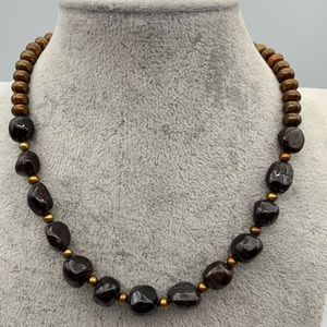Jewelry - Natural garnet nugget & freshwater pearl necklace